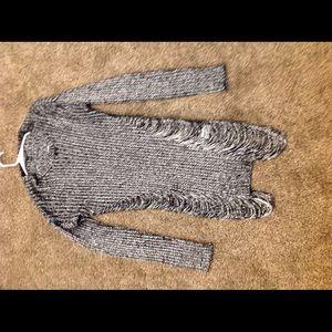 Derek heart black and silver distressed sweater